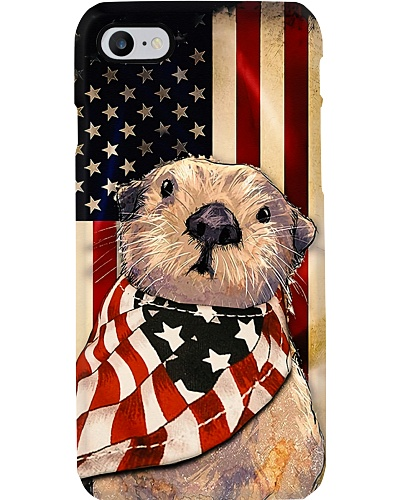 Cute Otter And American Flag