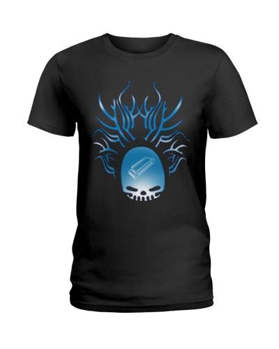 Blue Roof Tree Skull Harmonica