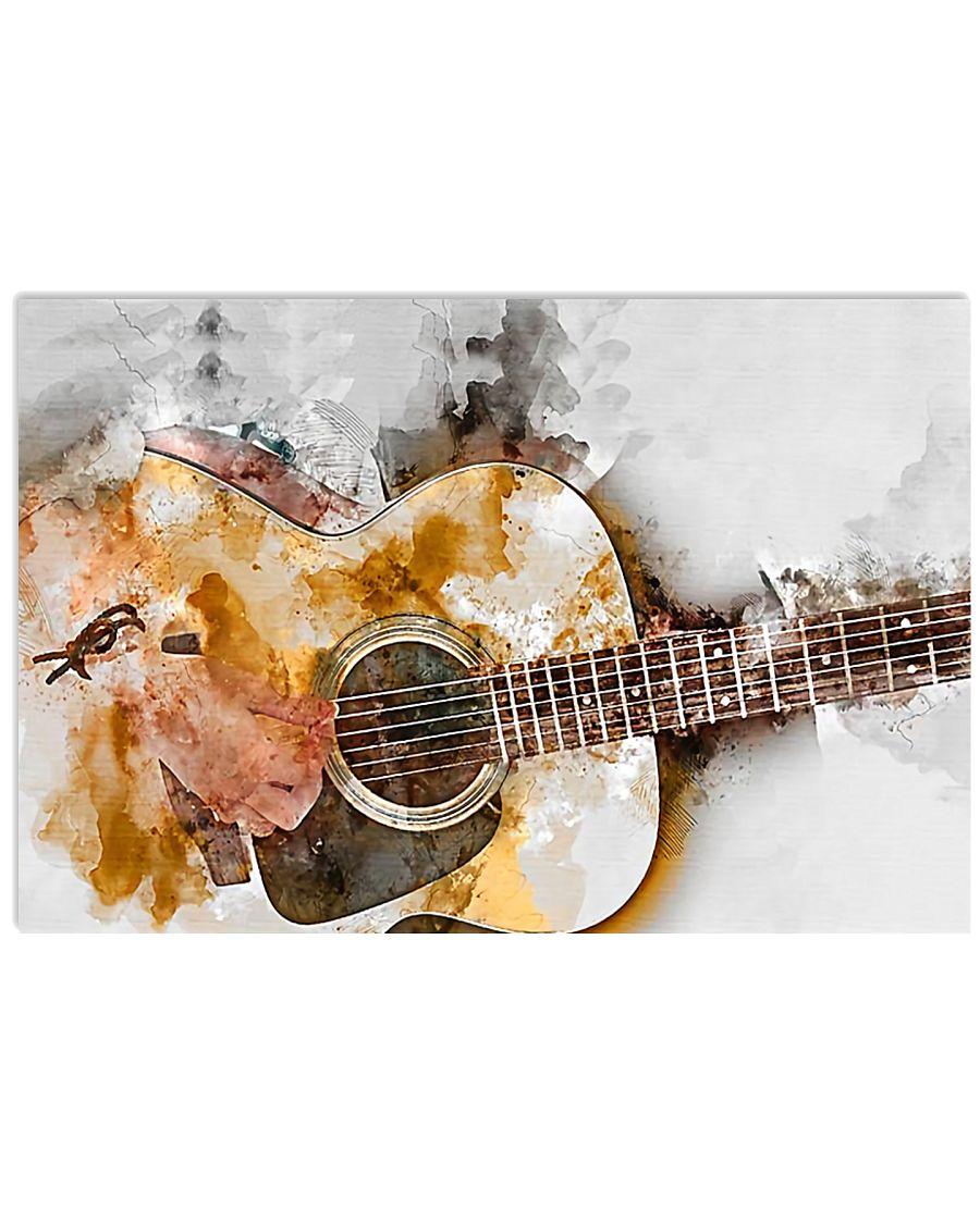 Watercolor Guitar Art 17x11 Poster