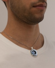Photographer Vintage Camera Art Metallic Circle Necklace aos-necklace-circle-metallic-lifestyle-2