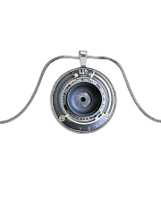Photographer Vintage Camera Art Metallic Circle Necklace front