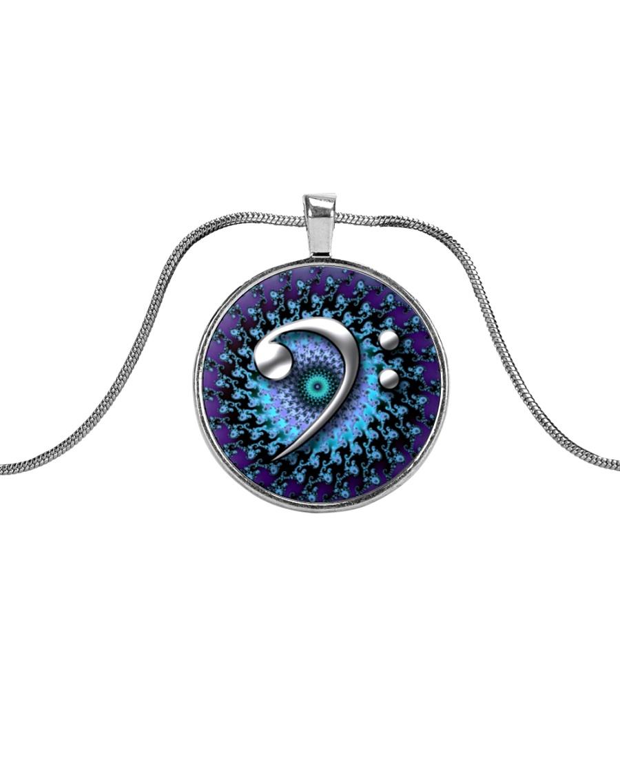Purple Clef Bass Guitar Metallic Circle Necklace