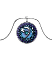 Purple Clef Bass Guitar Metallic Circle Necklace front