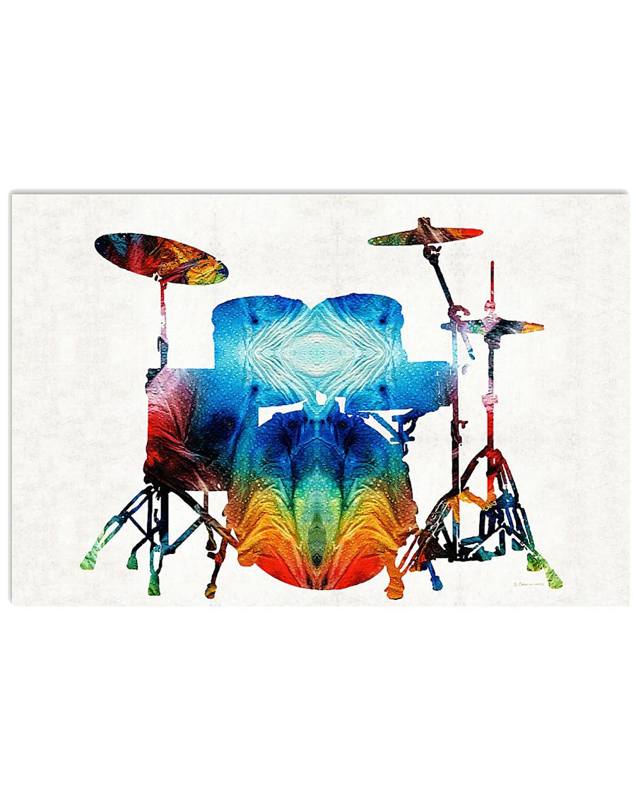 Drummer Gift Colorful Drums 17x11 Poster
