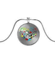 Autism Awareness Mother son Best friends for life Metallic Circle Necklace thumbnail