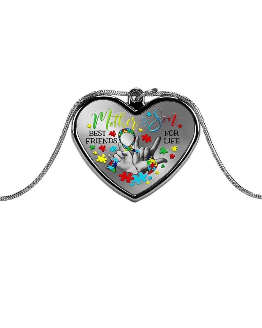 Autism Awareness Mother son Best friends for life Metallic Heart Necklace