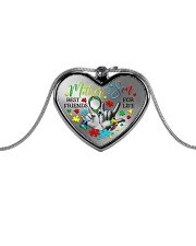 Autism Awareness Mother son Best friends for life Metallic Heart Necklace front