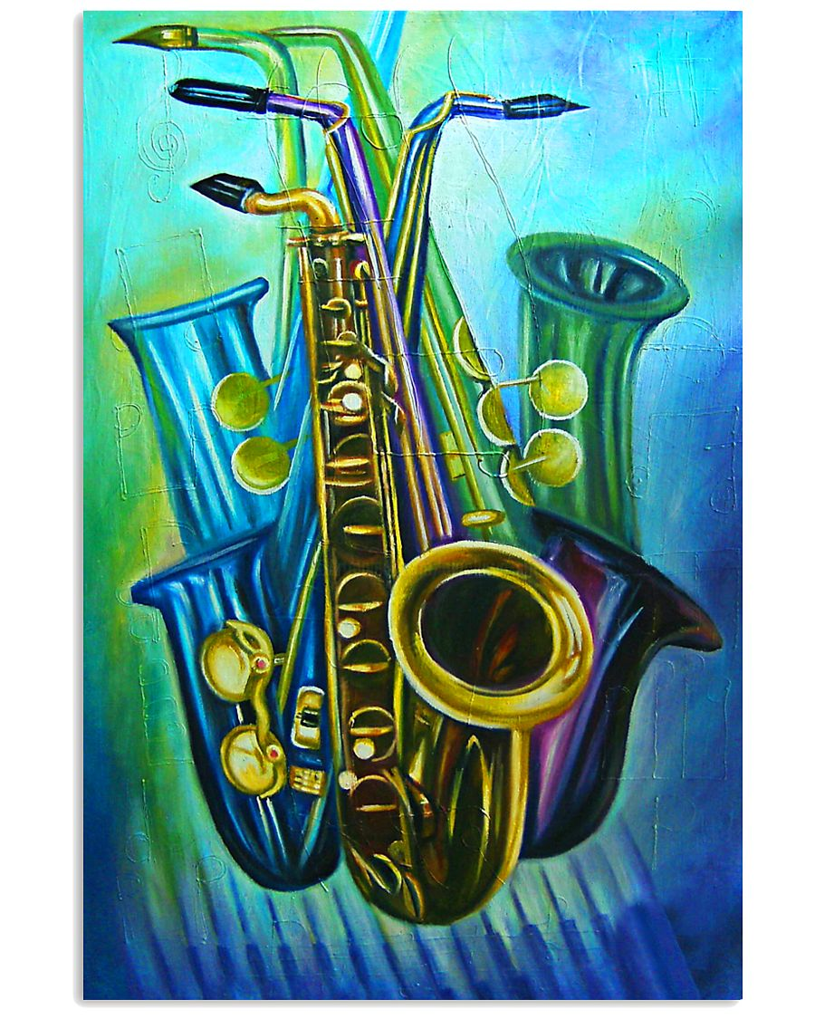 Saxophones Blue Art 11x17 Poster