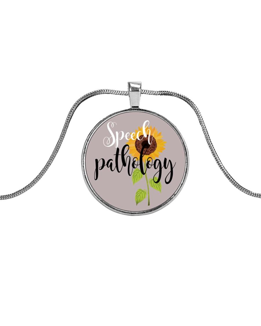 Speech Language Pathologist Sunflower Metallic Circle Necklace