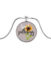 Speech Language Pathologist Sunflower Metallic Circle Necklace front