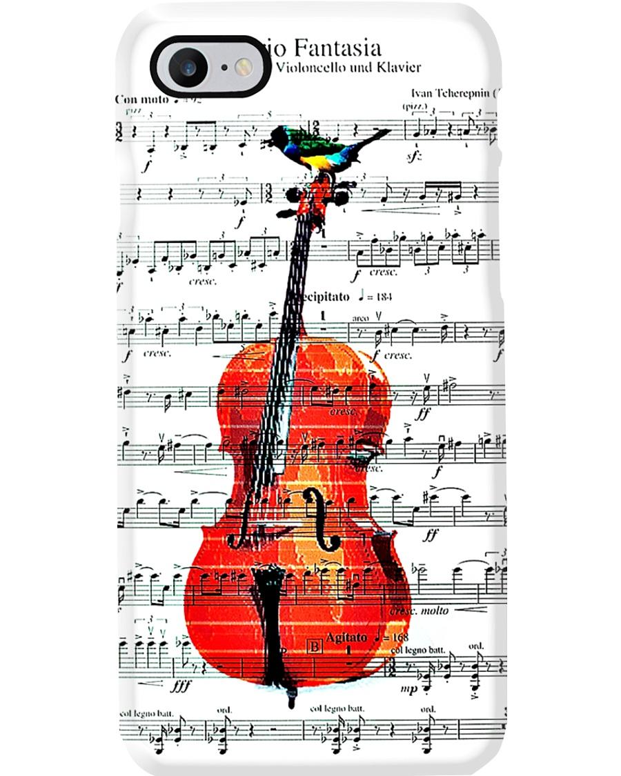 Cello - Music sheet with bird Phone Case