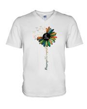 Massage Therapist Colorful Sunflower V-Neck T-Shirt thumbnail