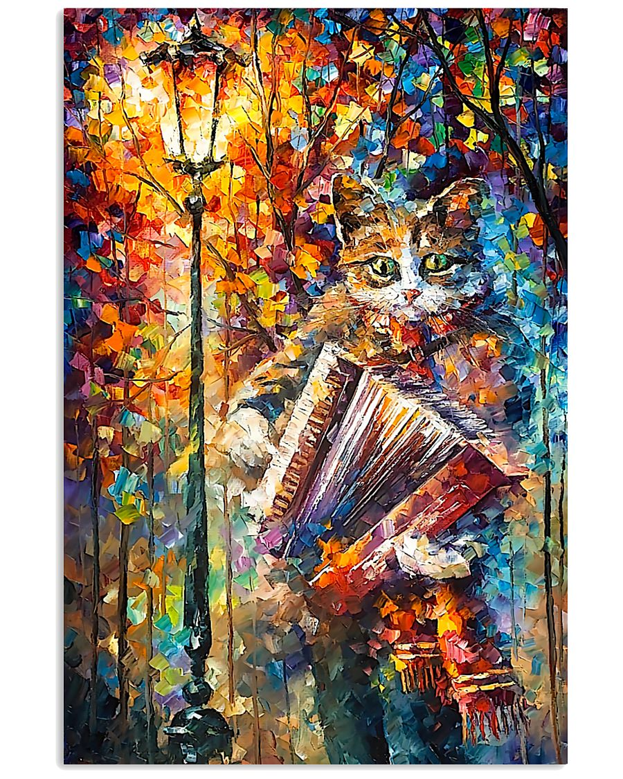 Cat Playing Accordion 11x17 Poster