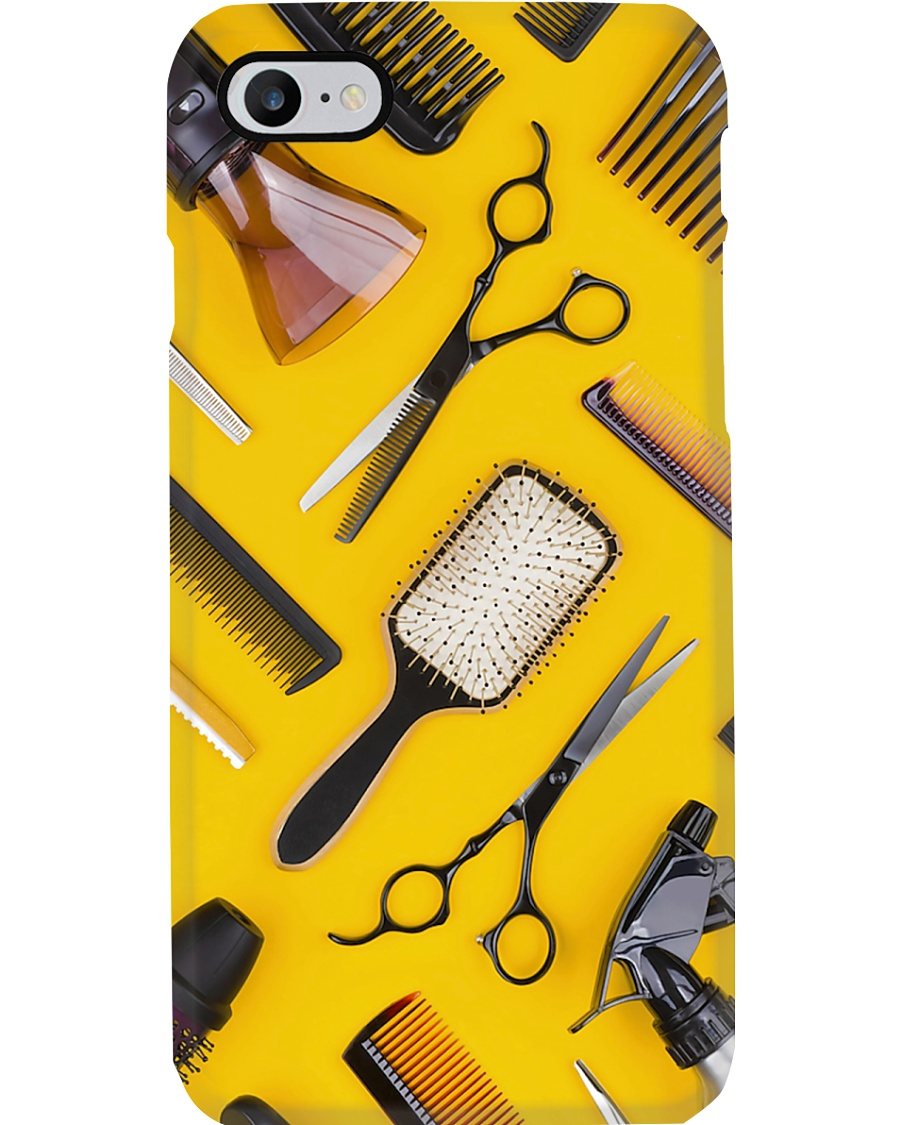 Hairdresser Tools In Yellow Background Phone Case