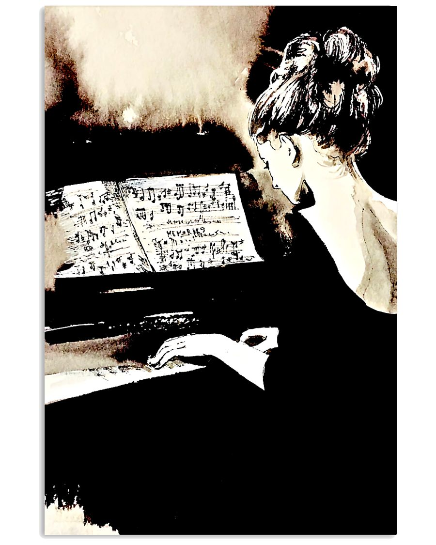 Pianist Gift Girl Playing Piano 11x17 Poster
