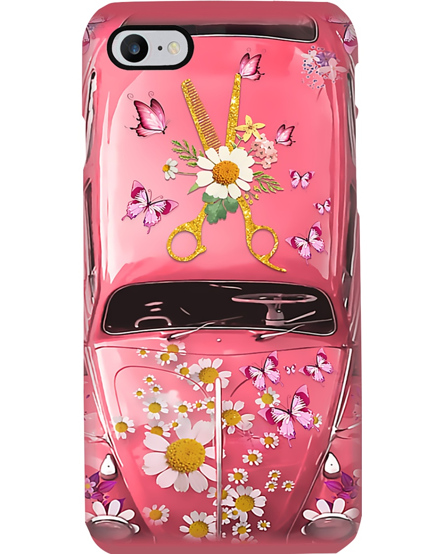 Hairdresser Gift Pink Daisy Butterfly Car Phone Case