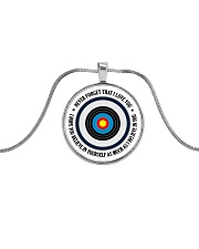 Archery Gift Never Forget That I Love You Metallic Circle Necklace front