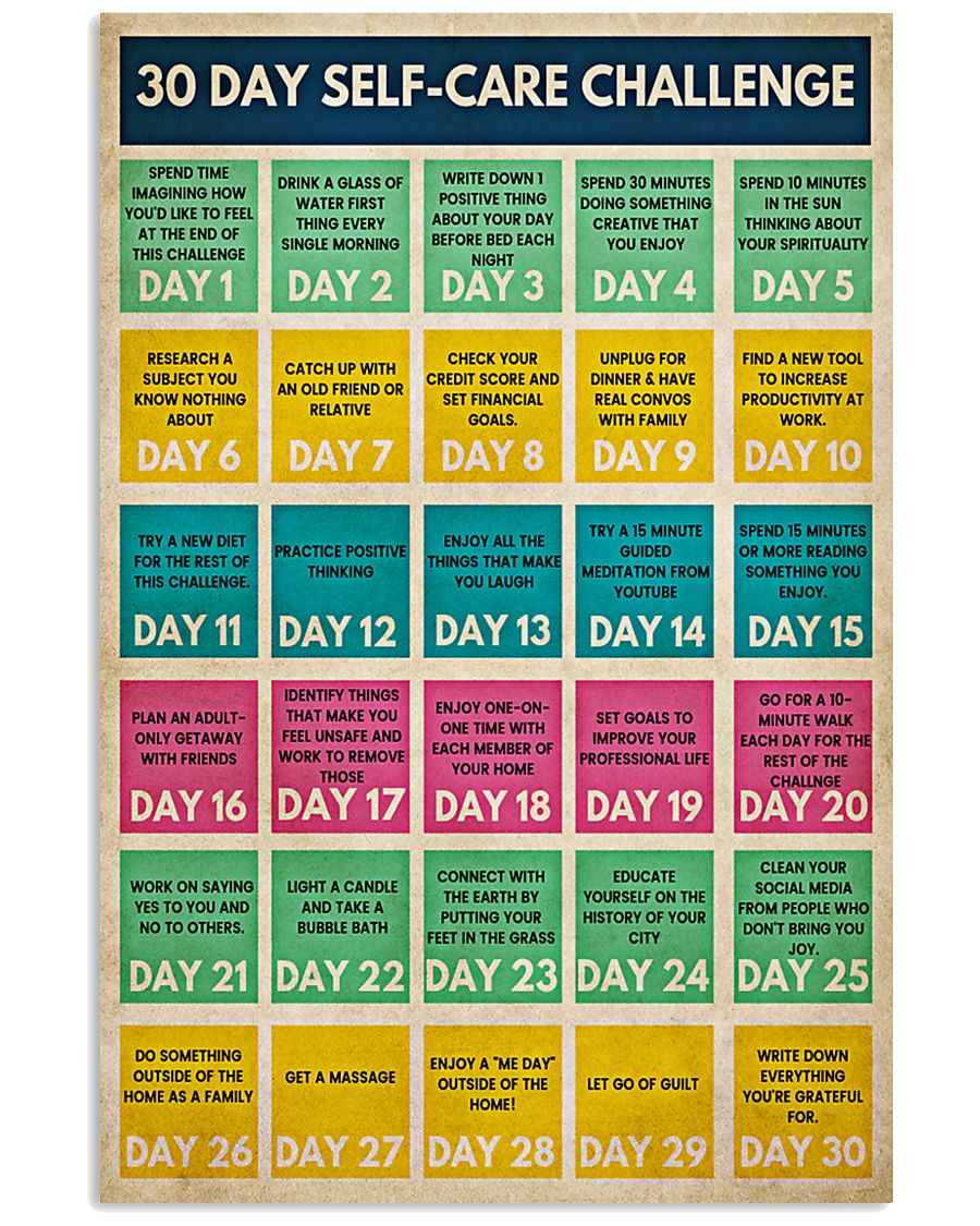 Social Worker 30 Day Self-Care Challenge  11x17 Poster