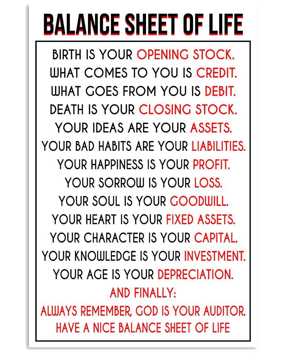 Accountant Balance Sheet of Life poster 24x36 Poster