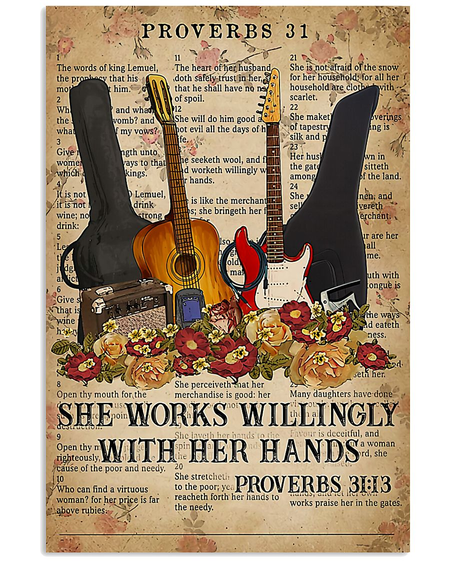 Guitar She Works Willingly 11x17 Poster