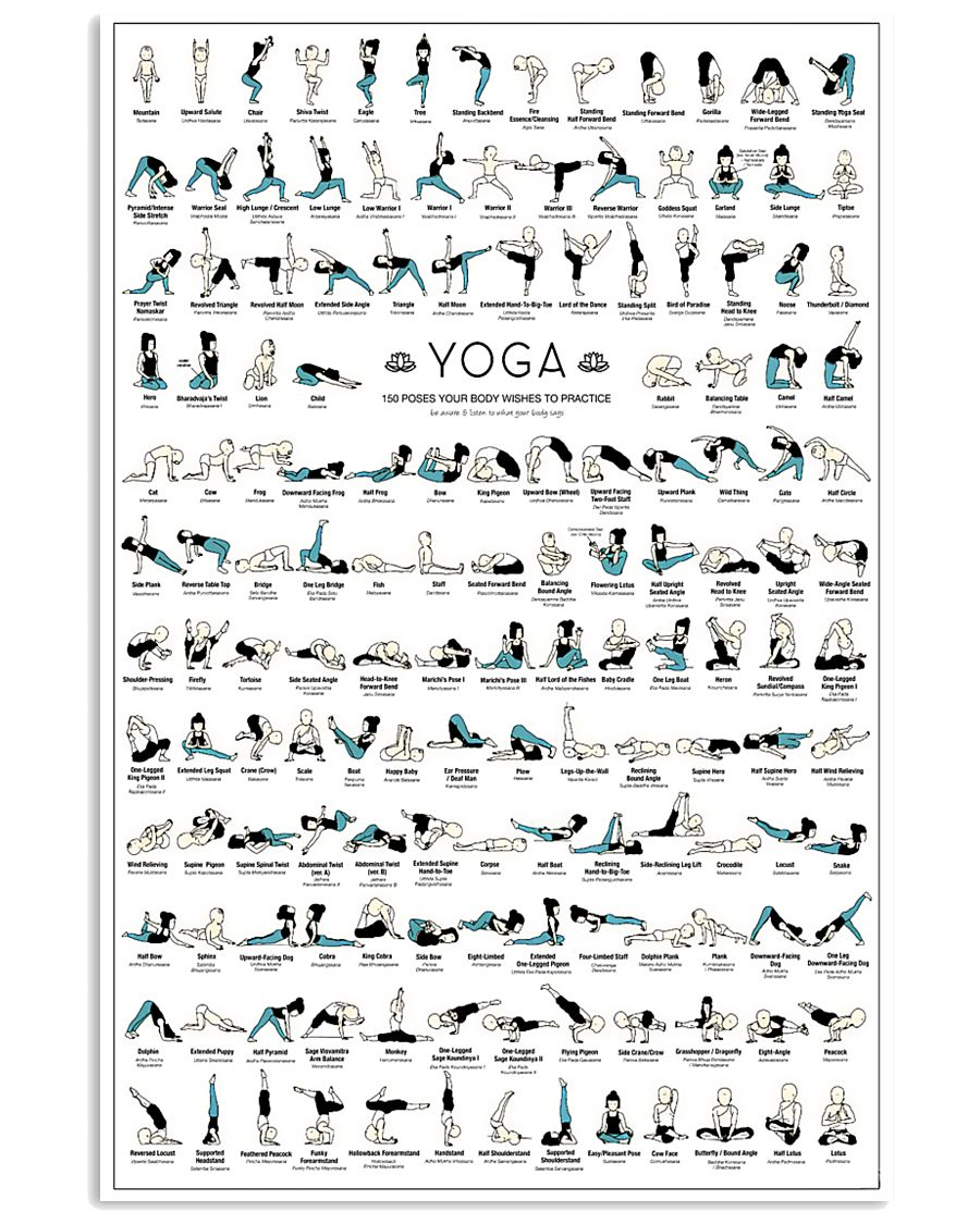 Yoga 150 Poses Your Body Wishes You To Practice 11x17 Poster