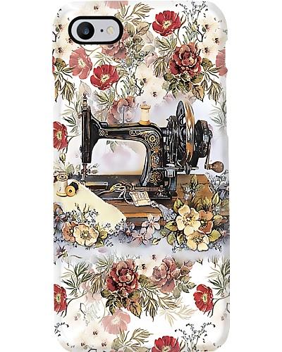 Vintage Floral Sewing Machine Sewing
