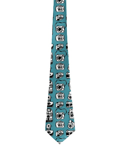 Photographer Tie With Mini Retro Cameras On Teal