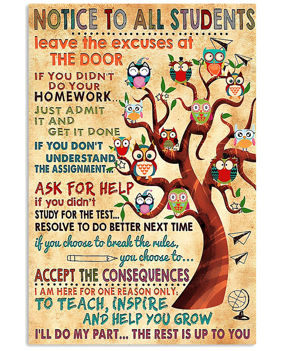 Notice To Students Teacher 11x17 Poster