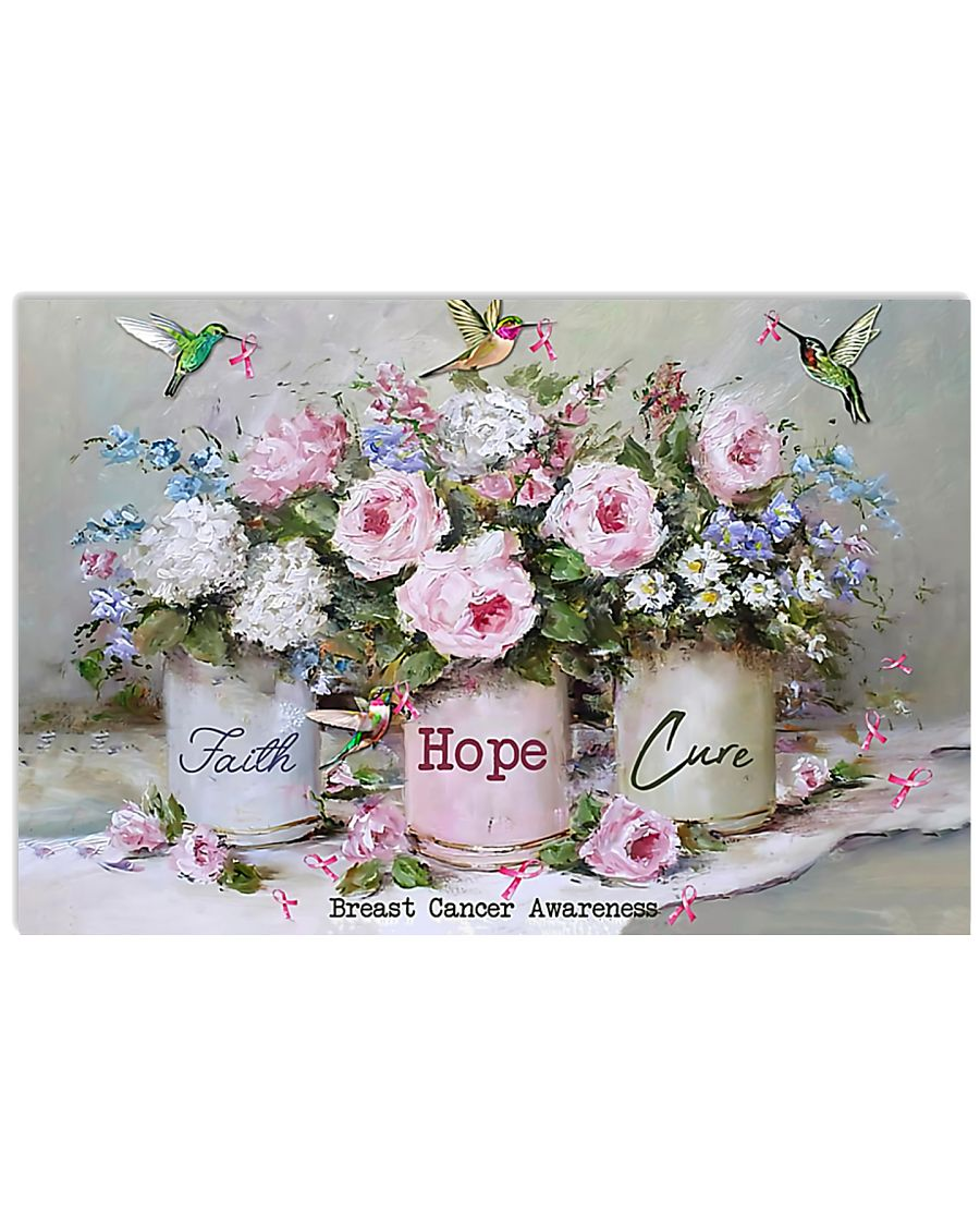 Breast Cancer Awareness Faith Hope Cure 17x11 Poster