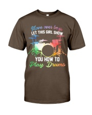 Drummer - Let this girl show you how to play drums Premium Fit Mens Tee thumbnail