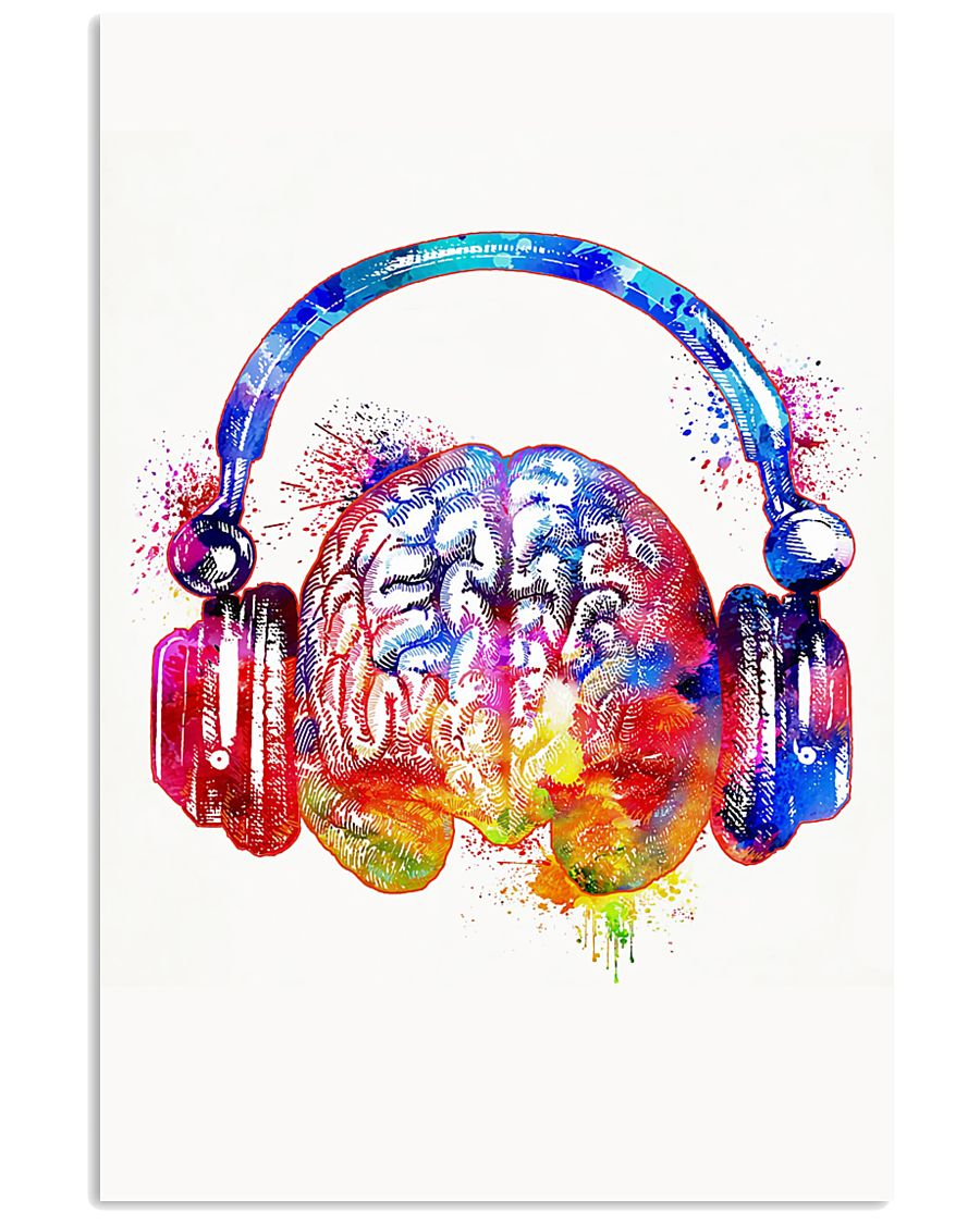 DJ - Colorful brain with headphone 11x17 Poster