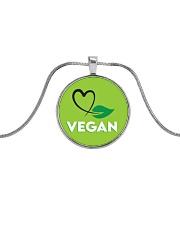 Vegan Metallic Circle Necklace front