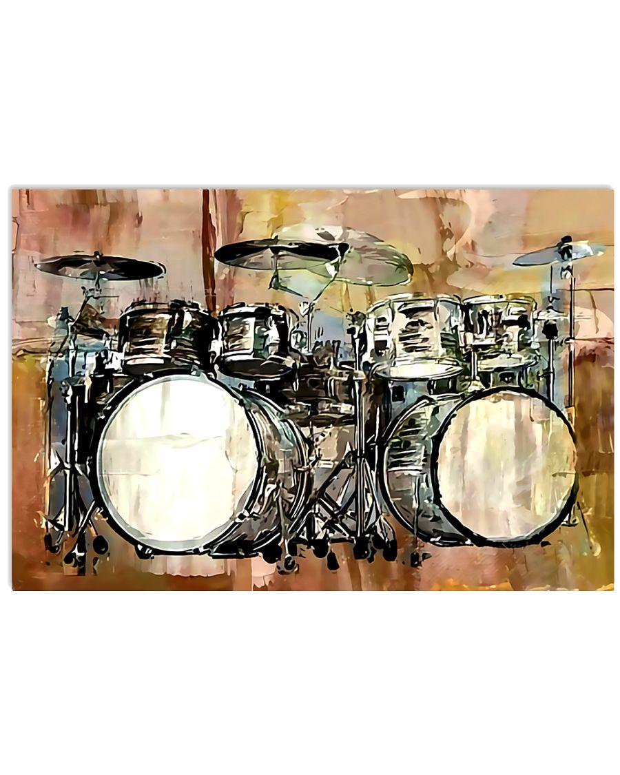 Drummer Vintage Drum Set 17x11 Poster