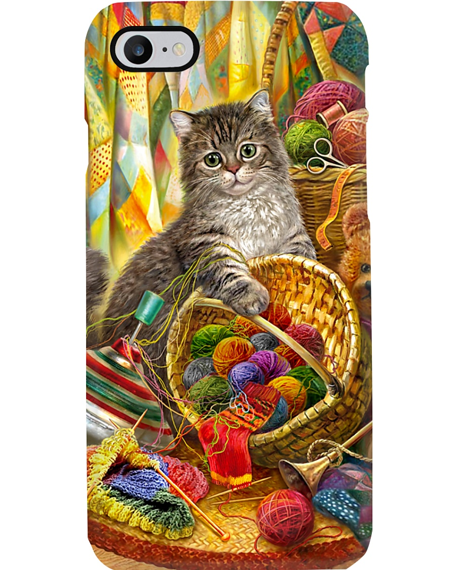 Crochet and Knitting Cat Phone Case