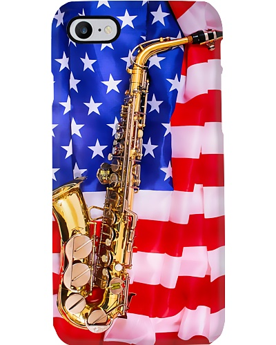 Saxophone And American Flag