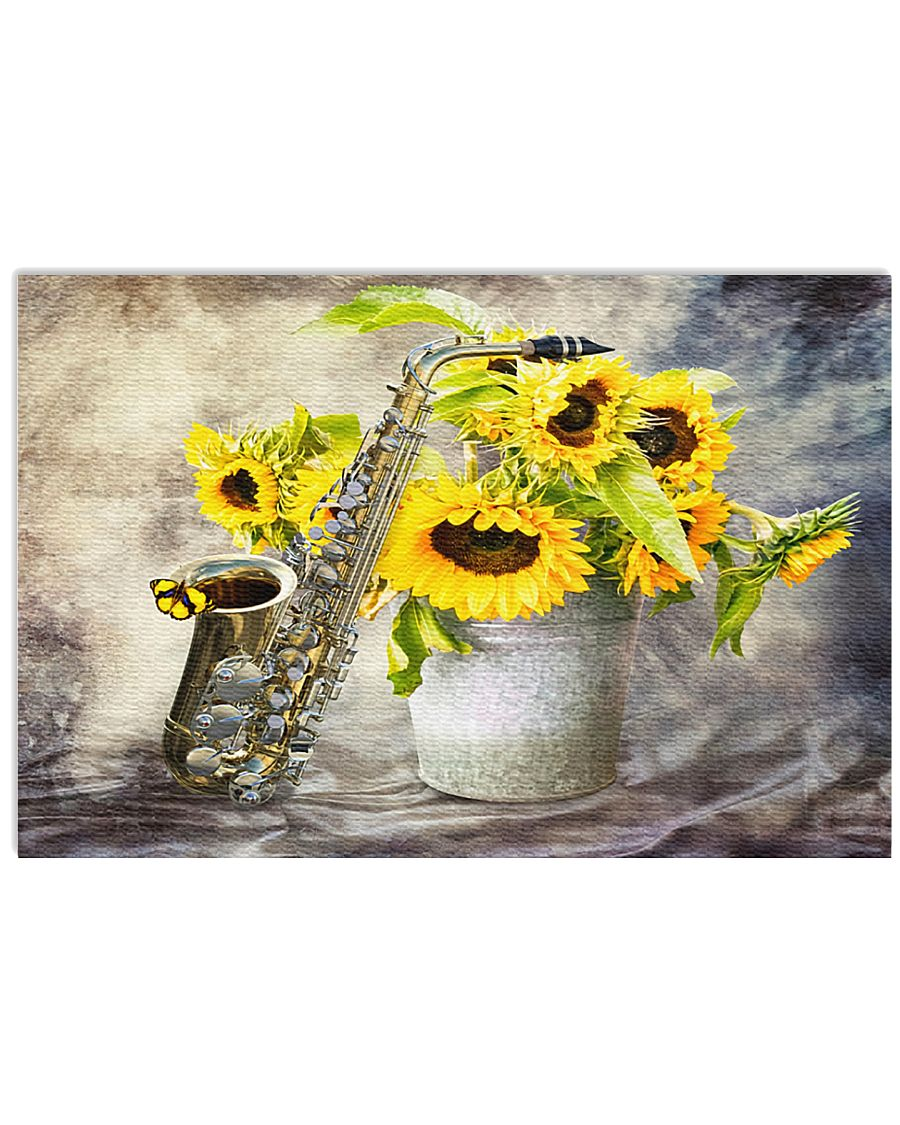 Saxophone And Sunflowers 17x11 Poster