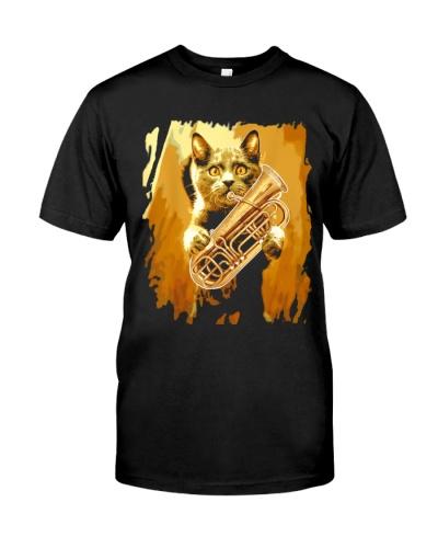 Tubist tuba and cat