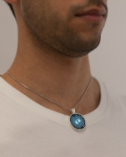 Massage Therapist Prayer Metallic Circle Necklace aos-necklace-circle-metallic-lifestyle-2