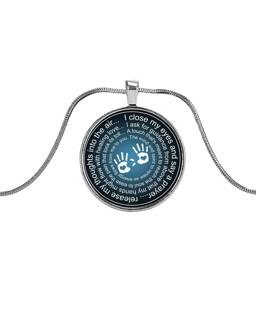 Massage Therapist Prayer Metallic Circle Necklace