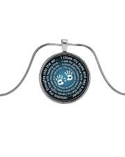 Massage Therapist Prayer Metallic Circle Necklace front