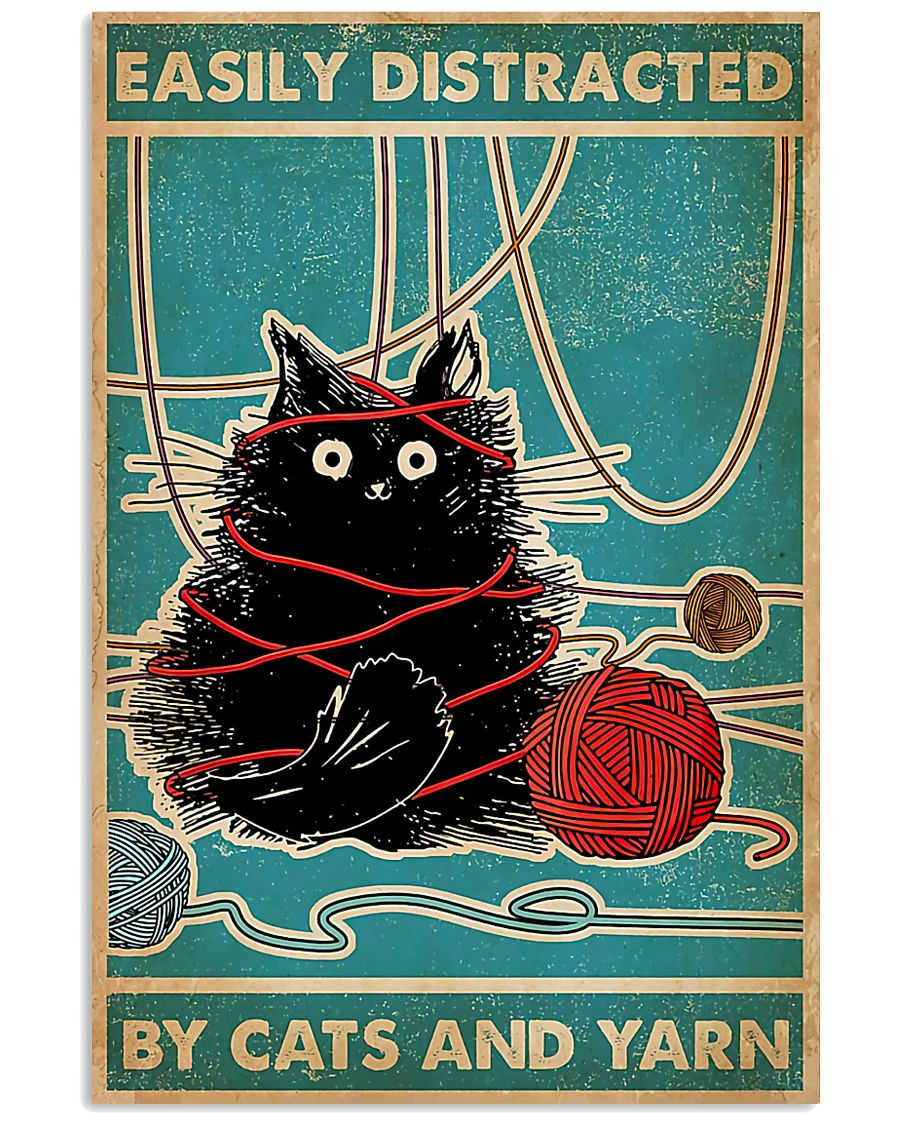 Knitting Easily Distracted By Cats And Yarn 11x17 Poster