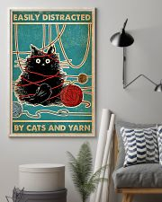 Knitting Easily Distracted By Cats And Yarn 11x17 Poster lifestyle-poster-1