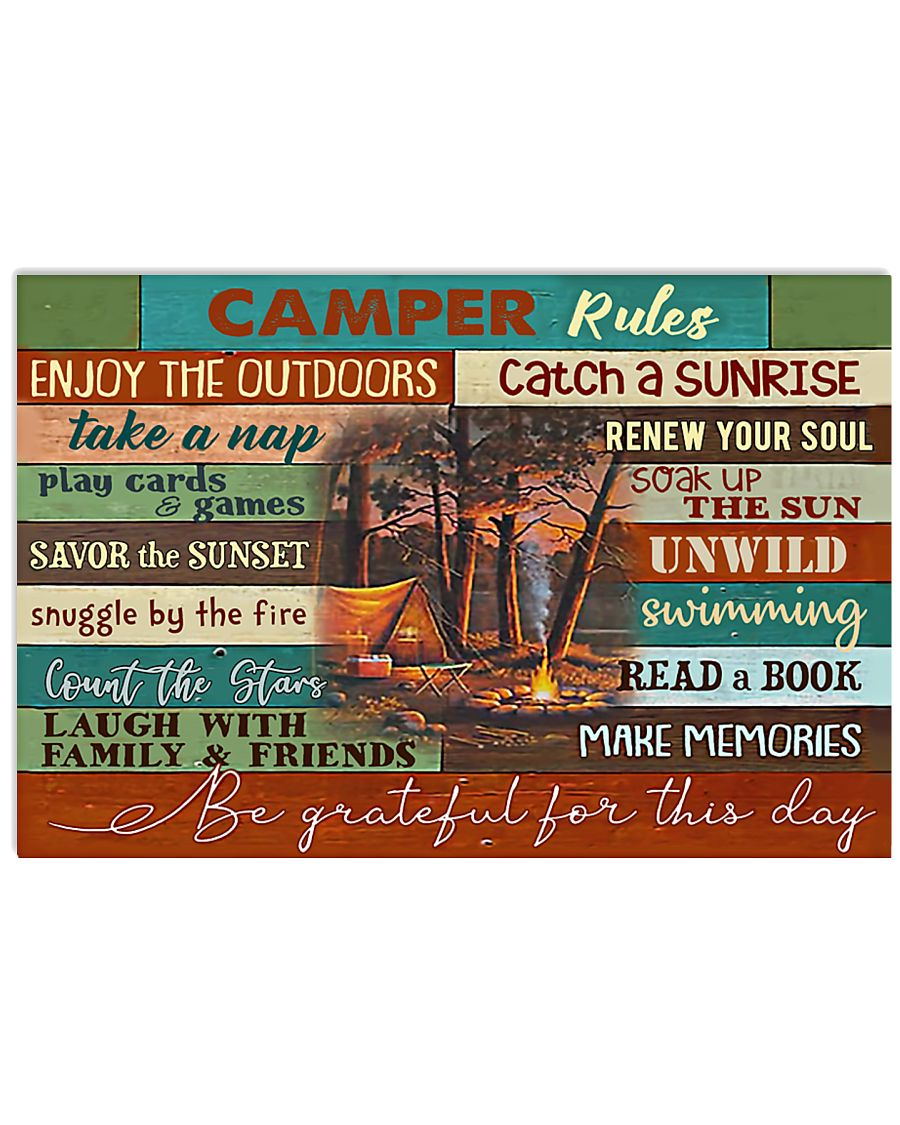 Camping Camper Rules  17x11 Poster