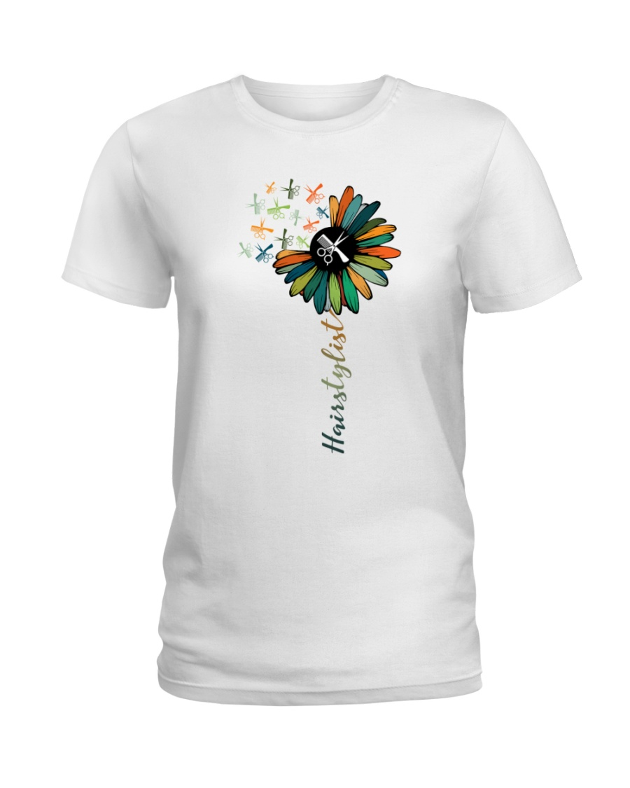 Hairstylist Colorful Tools Sunflower  Ladies T-Shirt