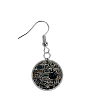 Librarian Girl and Boy Reading Books in Library Circle Earrings thumbnail