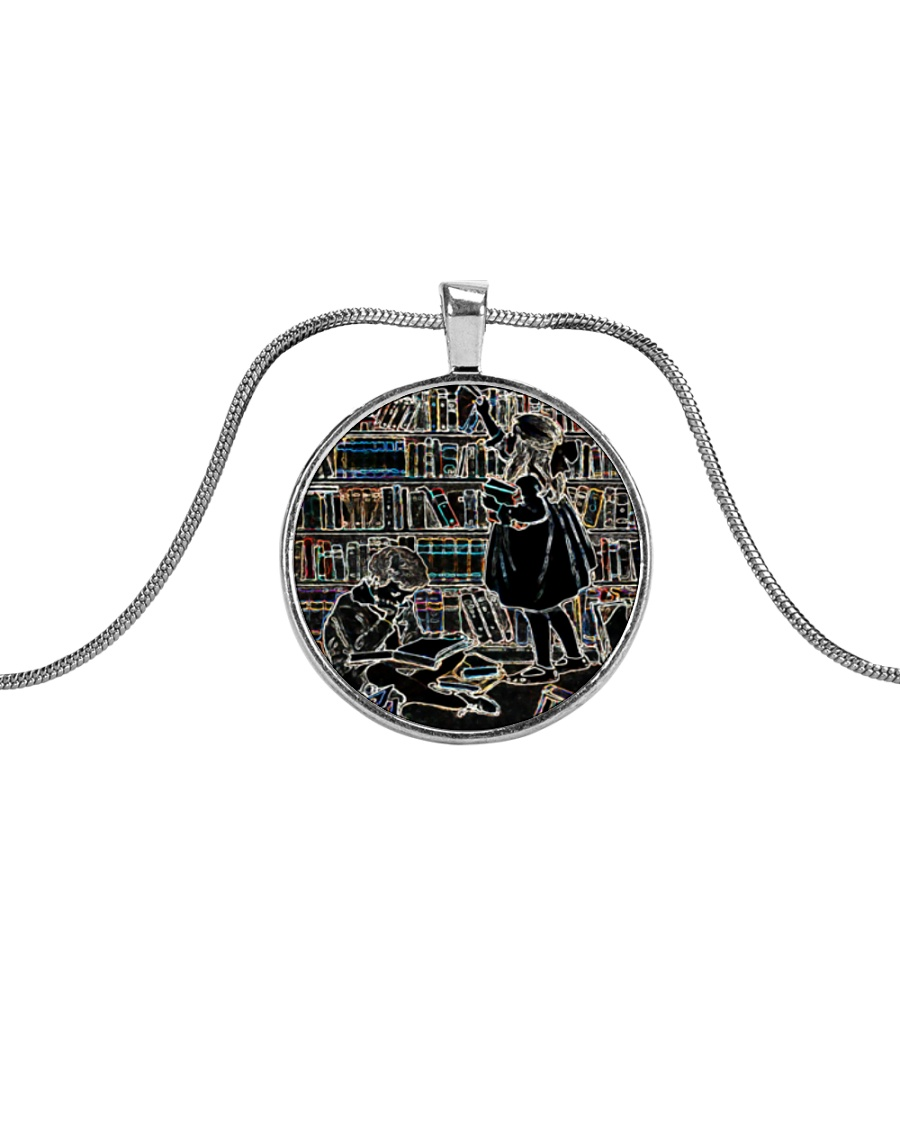 Librarian Girl and Boy Reading Books in Library Metallic Circle Necklace