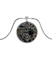 Librarian Girl and Boy Reading Books in Library Metallic Circle Necklace front