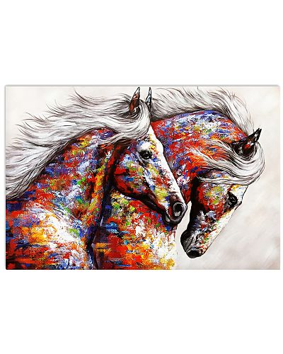 Horse Girl Colorful Couple Horses