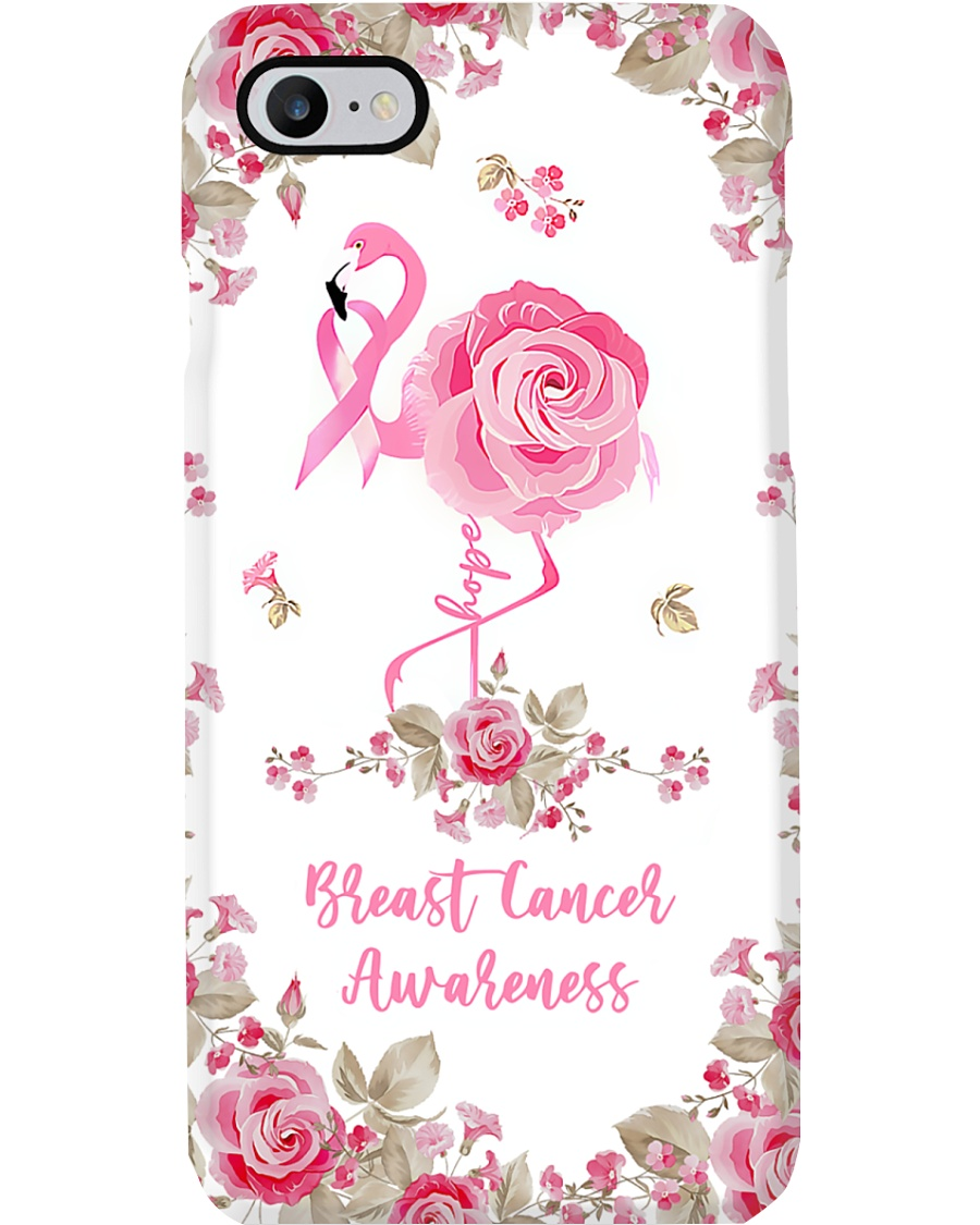Breast Cancer Awareness Flamingo and Rose Phone Case