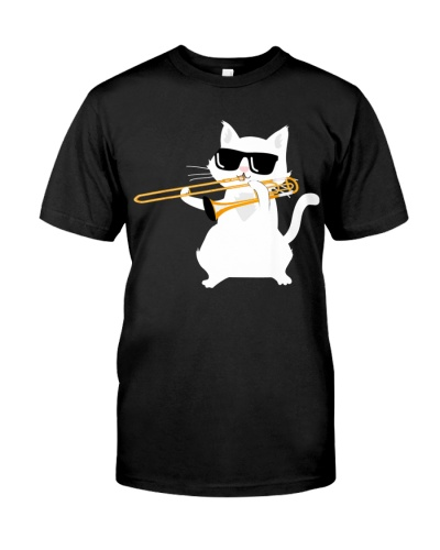 Trombonist Cat plays trombone